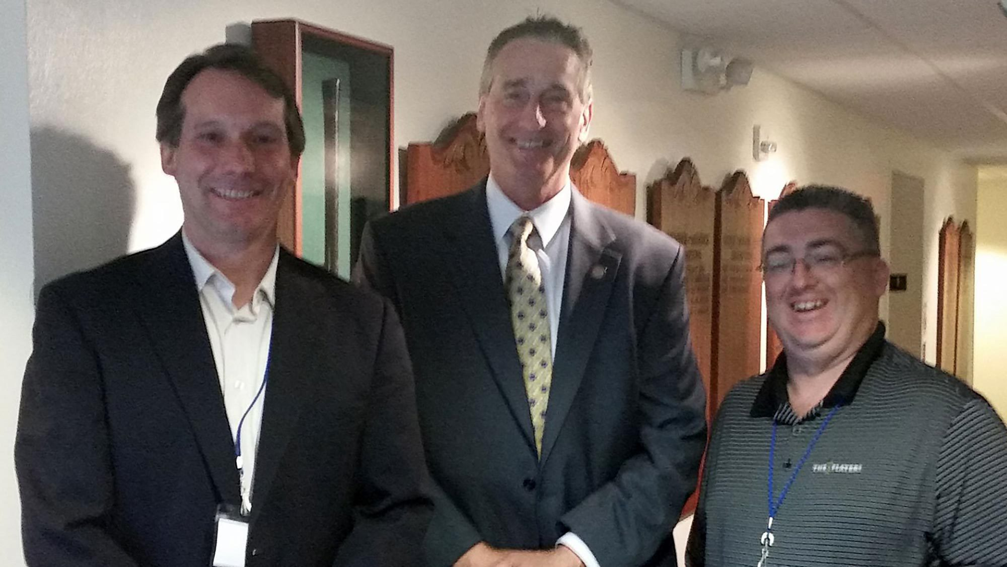 Keynote speaker, Robert Duffy, former Lieutenant Governor of New York (center) with Vice President of Product Strategy Shawn Ryan (right) and BCC Software President Chris Lien.
