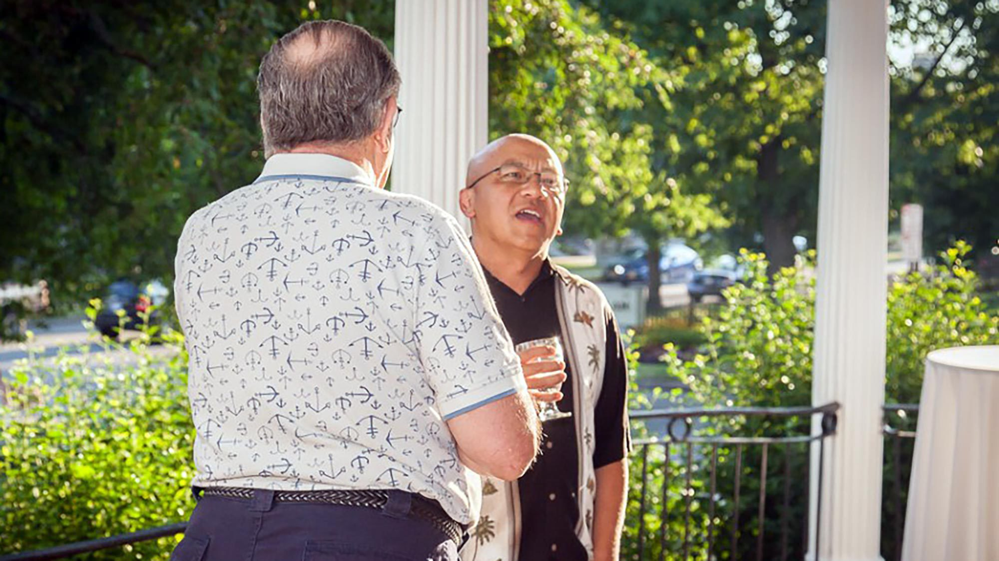 Customers enjoy the beautiful early evening at Century Club at the kick-off happy hour.