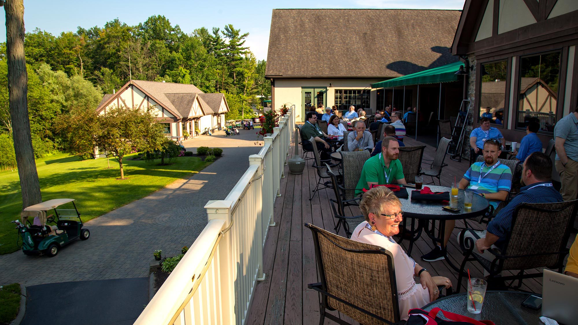 Ending the first day of the conference on the deck of Brook-Lea Country Club.
