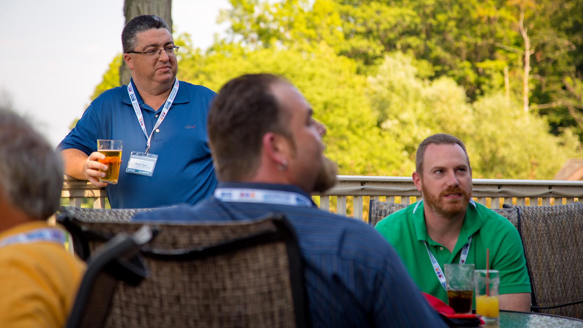 Shawn Ryan, BCC Software Vice President of Product Strategy, listening to customers over drinks.