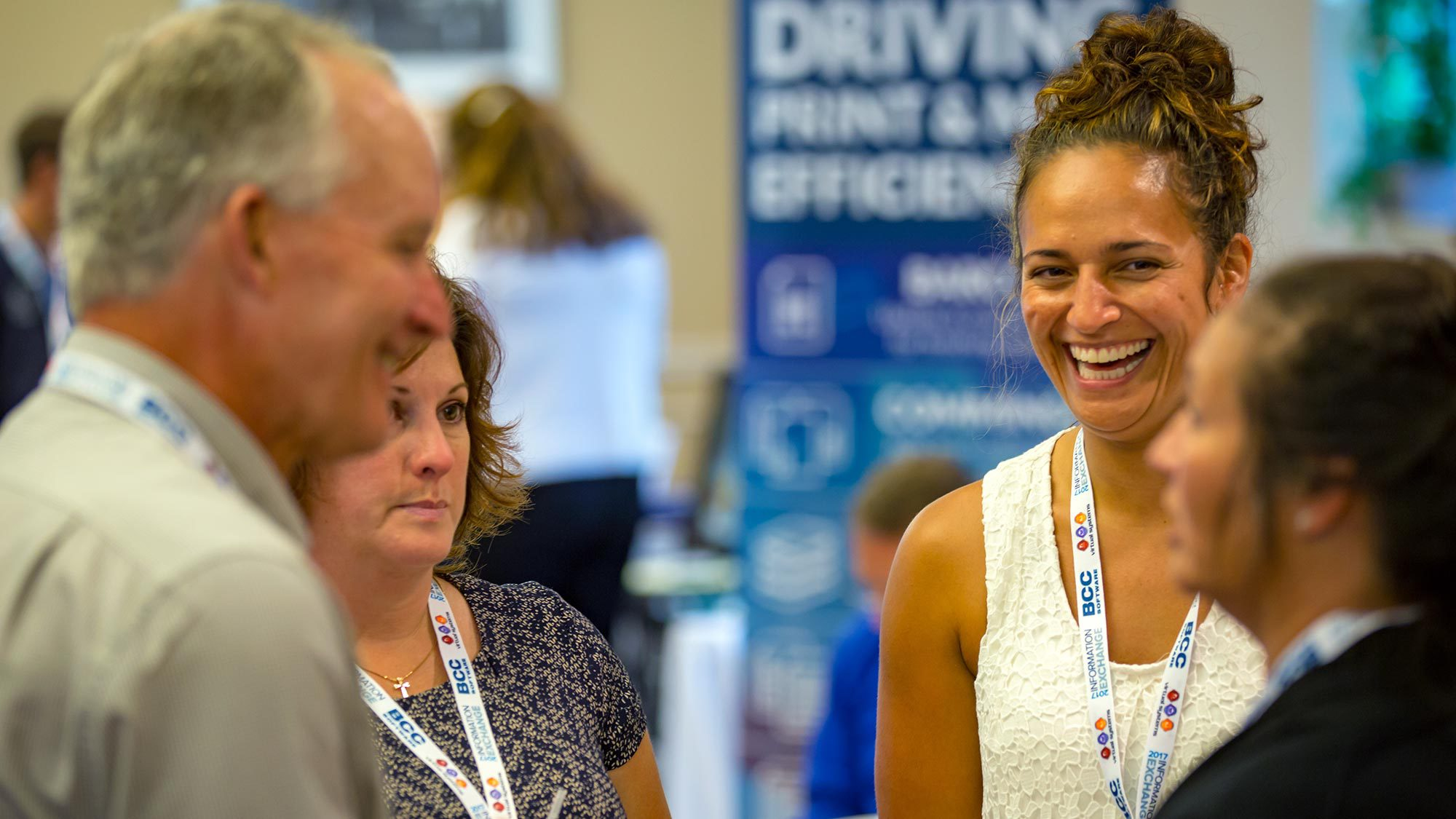 BCC Software customer, Natalie Bisnow, shares a laugh during the Meeting Zone.